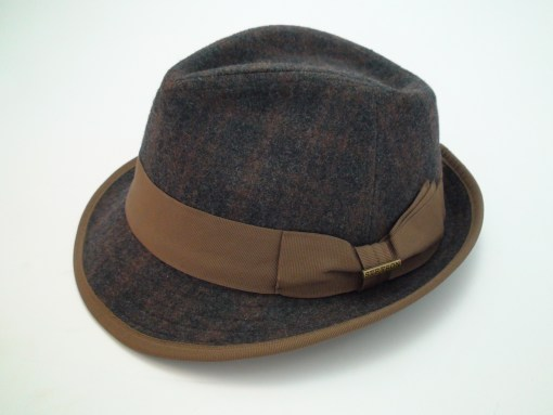 Stetson Kondor Brown Plaid Wool Blend Trilby Fedora Hat