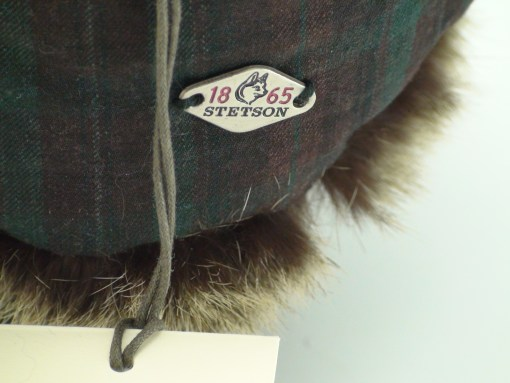 Stetson Expedition Aviator Faux Fur Plaid Cotton Shell Winter Hat