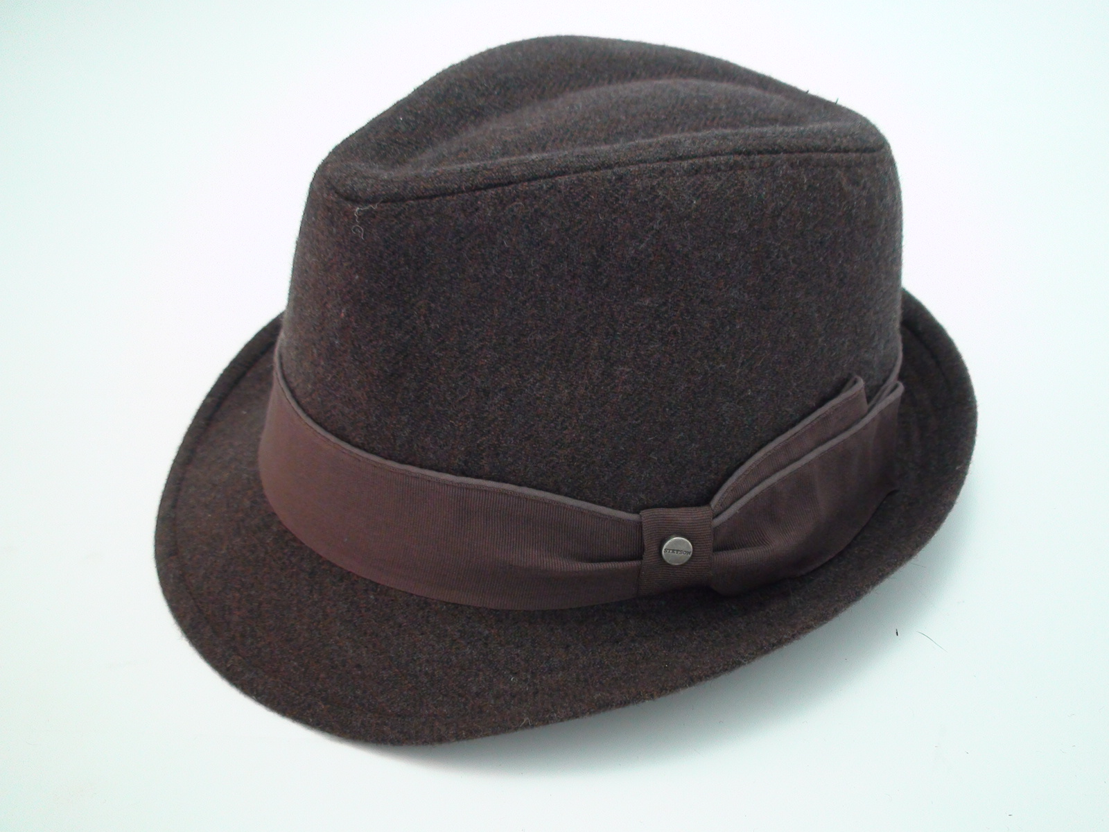b9d4c16408e46 Stetson All American Brown Herringbone Wool Blend Trilby Fedora Hat