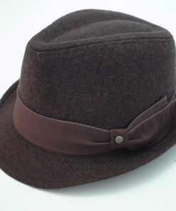 Stetson All American Brown Herringbone Wool Blend Trilby Fedora Hat