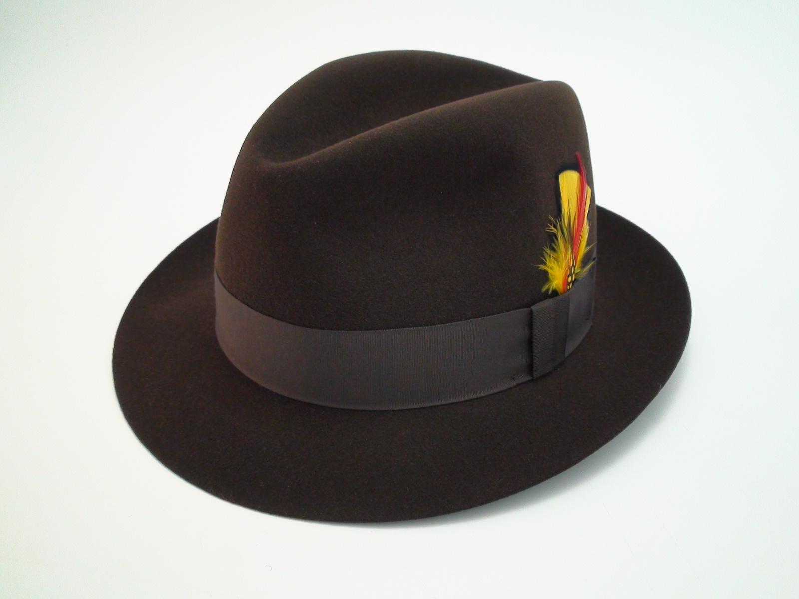 Biltmore Hats Governor Brown Stingy Brim Fur Felt Fedora Hat 6d76a5d6375c