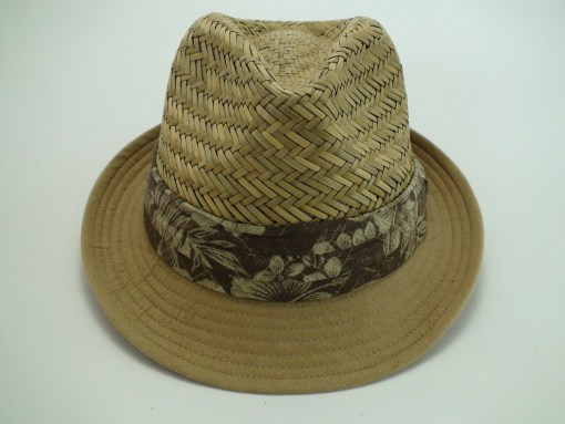 Tommy Bahama Relax Straw Fedora Hat with Linen Cotton Brim