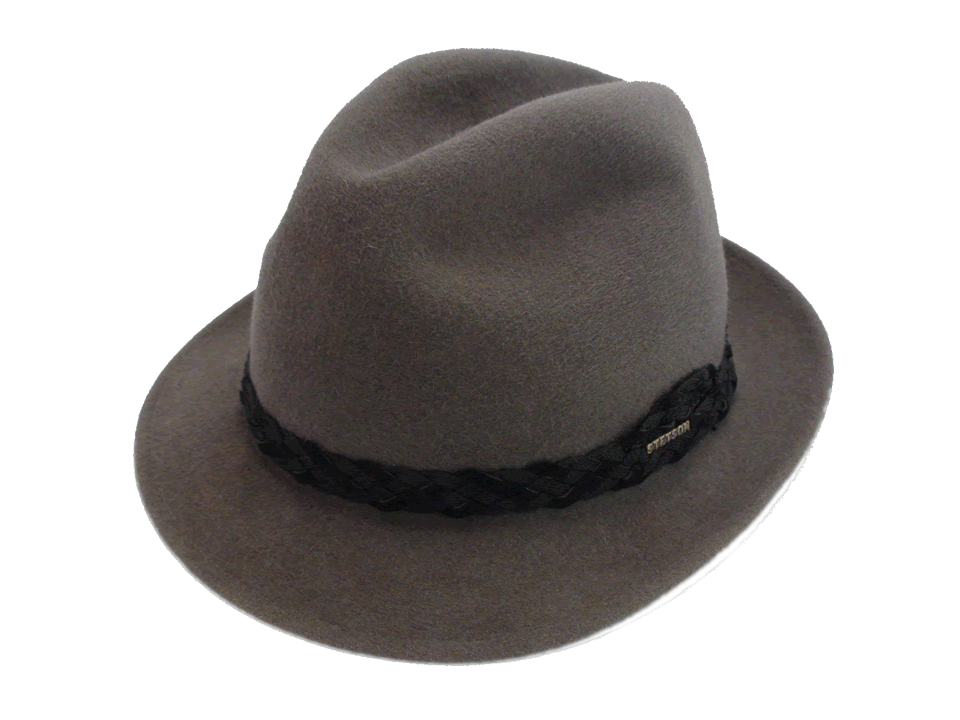 b6d5b4eacbc Vintage Stetson Royal De Luxe Grey Fur Felt Fedora Hat Size 7 3 8″