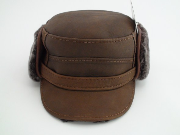 Ricardo Sheepskin Brown Leather Winter Captain Hat e496c35e5b77