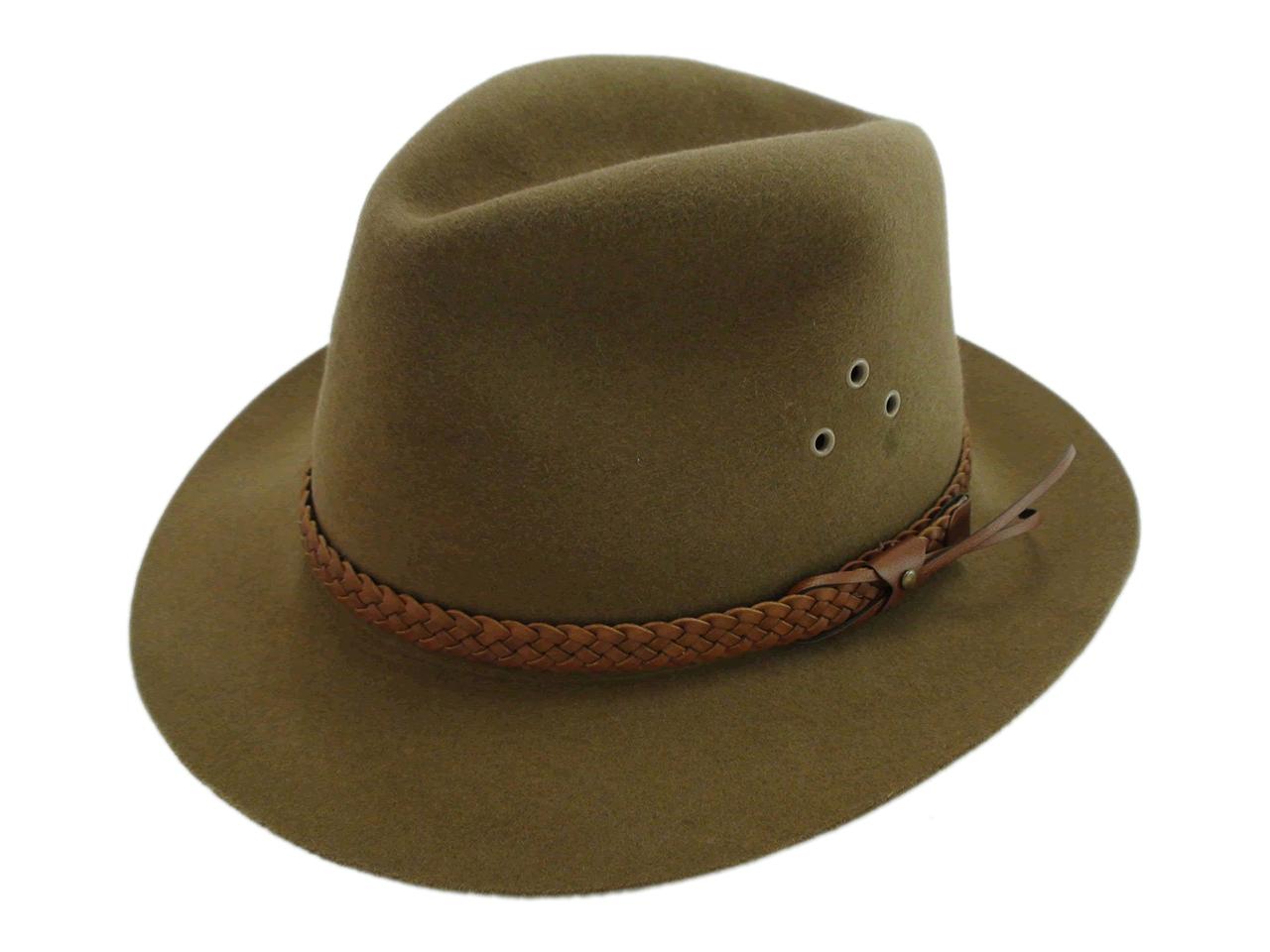 Vintage Adam Hats Genuine Fur Felt Brown Outback Fedora Hat Size 7 1 8″ 28da51dbe57