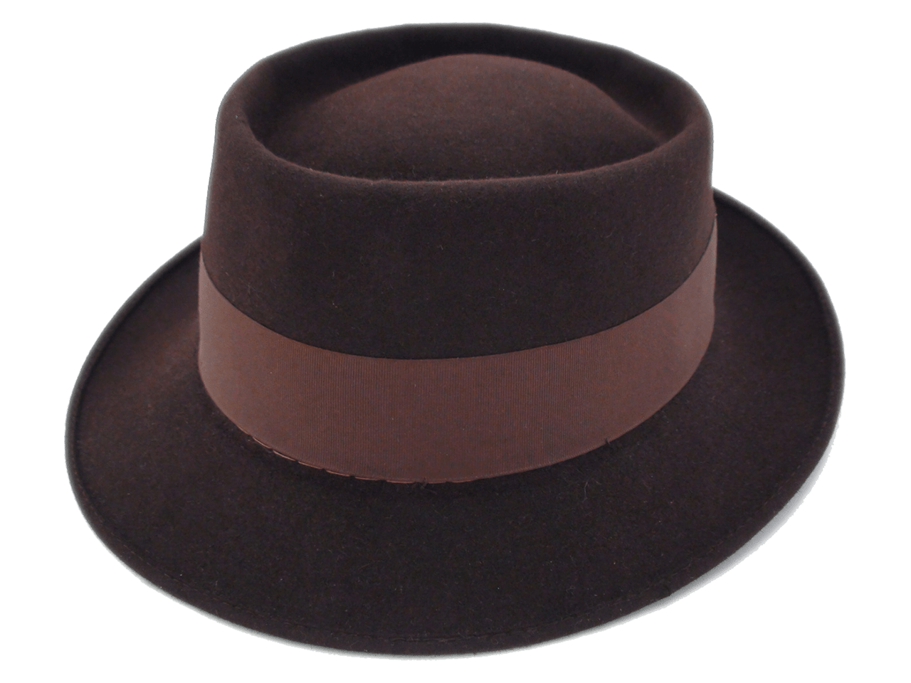 Vintage Adam Hats Pork Pie Brown Fur Felt Fedora Hat 256fef2c4ea