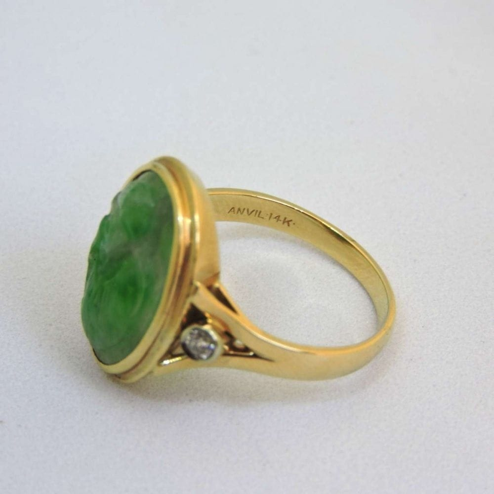 Engraved Green Jade Diamond Amp 14 Kt Gold Ring Bernardis