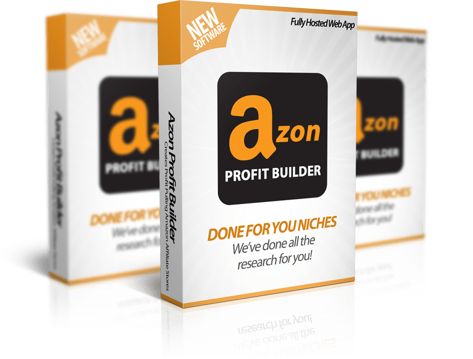 Mockup cover of Azon Profit Builder on three boxes