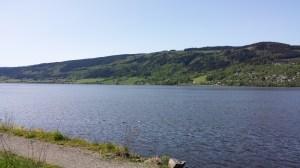 Blick vom Campingplatz auf den Mjøsa.
