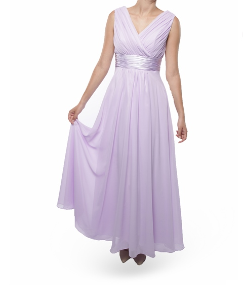 BM001L Snow White Shoulder V-Neck Long Bridesmaid/Evening Gown - Lilac