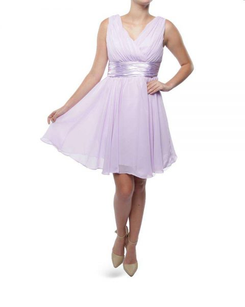 BM001S Snow White Shoulder V-Neck Cocktail Bridesmaid/Evening Gown - Lilac