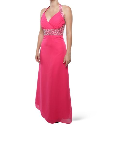 M130 Snow White Halter V-Neck Sparkle Evening Gown -Cerise