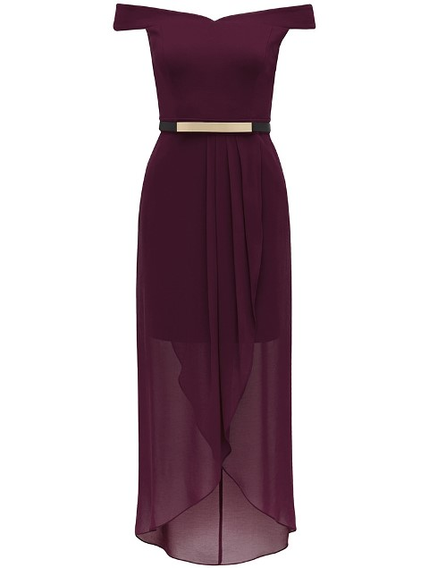 FEVE004 Forever New Wine Elsie 2 in 1 Hi-Lo Bridesmaid Evening Dress