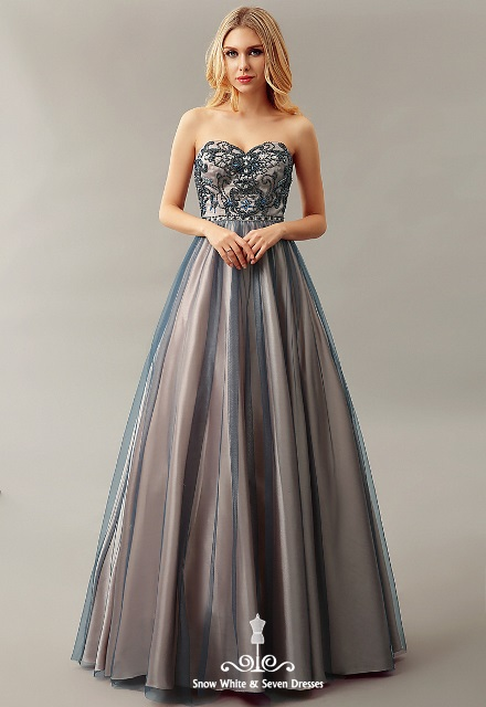 HFW2555- Helen Fontaine Sweetheart Beaded A-line Evening Dress - Size 8