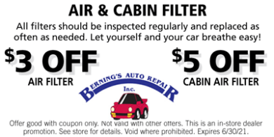 Air & Cabin Filter Coupon