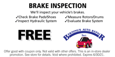 Brake Inspection Coupon