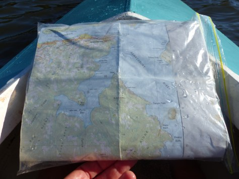 Map of my jaunt, preserved from harm in a handy ziploc bag