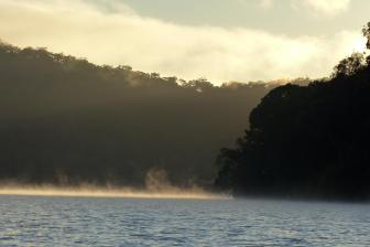 Golden light and mist at Calabash Bay