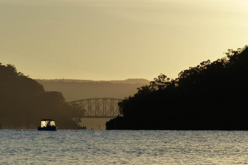 Spectacle Island in the foreground and the Hawkesbury River Railway Bridge behind