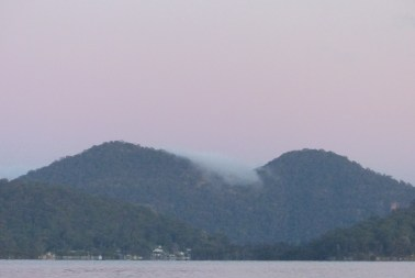 Looking upriver from Deerubbin past Milson's Island at dawn