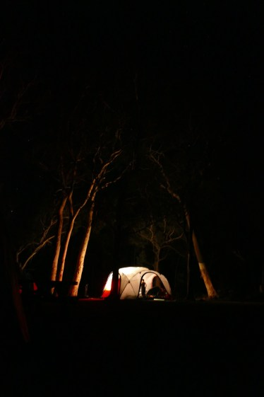 The campsite at night