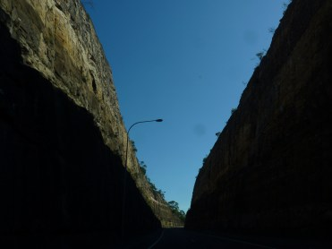 The humungous cuttings between Berowra and the freeway, showing millions of years of sandstone deposition