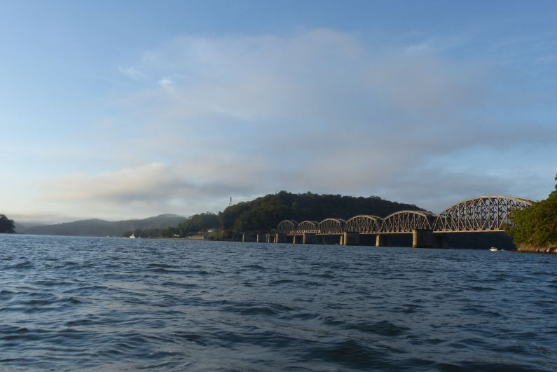 Looking back at the Hawkesbury River Railway Bridge and Long Island from the mouth of Mullet Creek