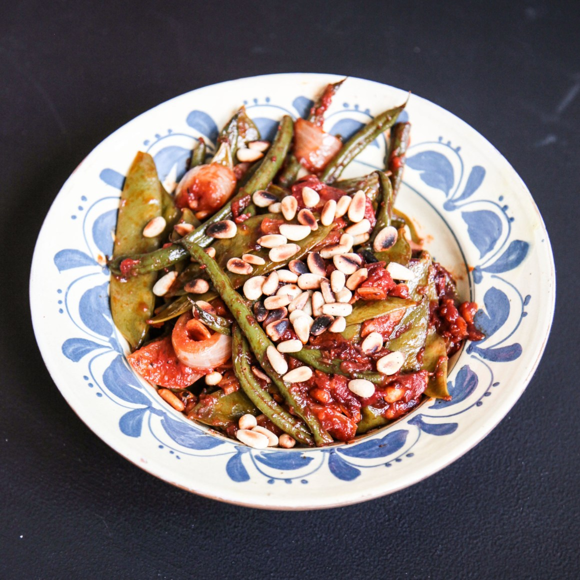 Green Beans and Mange Tout Peas, Mediterranean Style