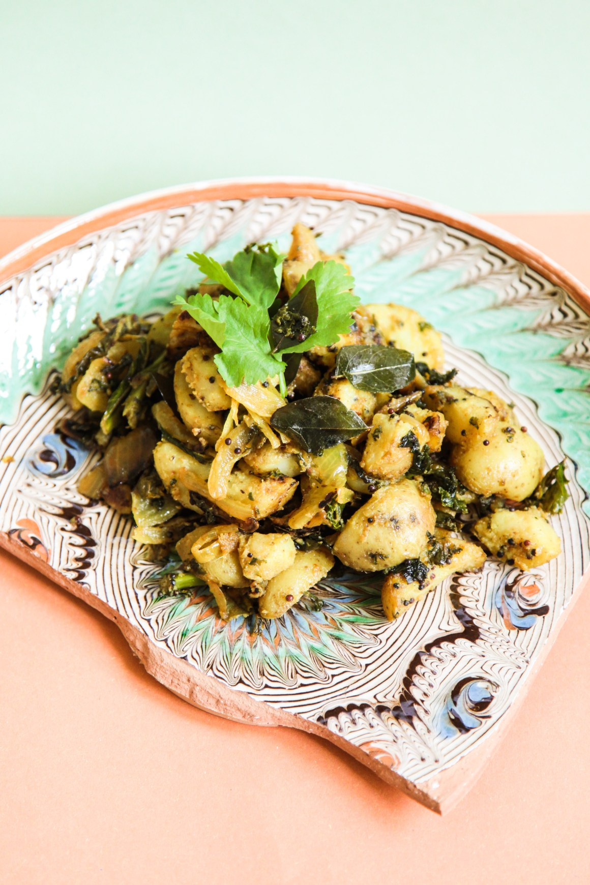 Potato and Kale Bhaji with Curry Leaves