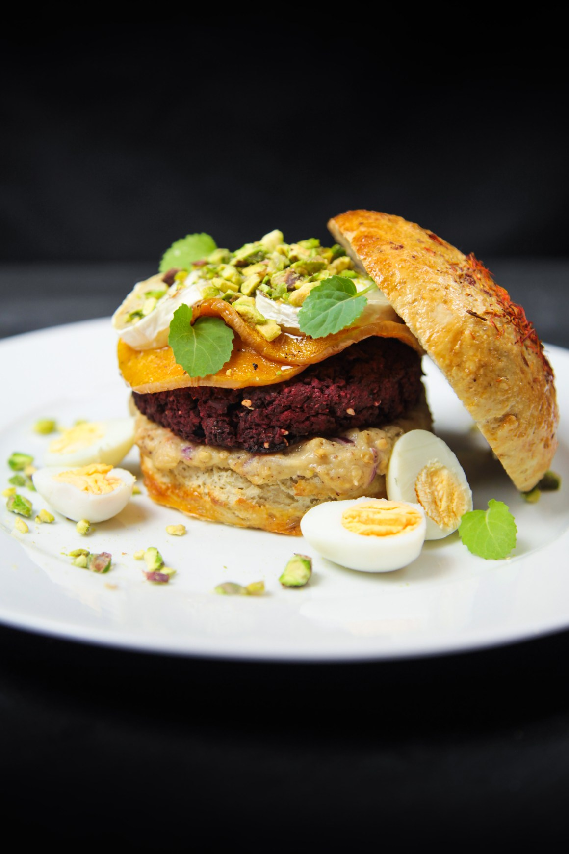 Delicious Beet Falafel Burgers with Baba Ganoush and Cardamom Butternut Squash