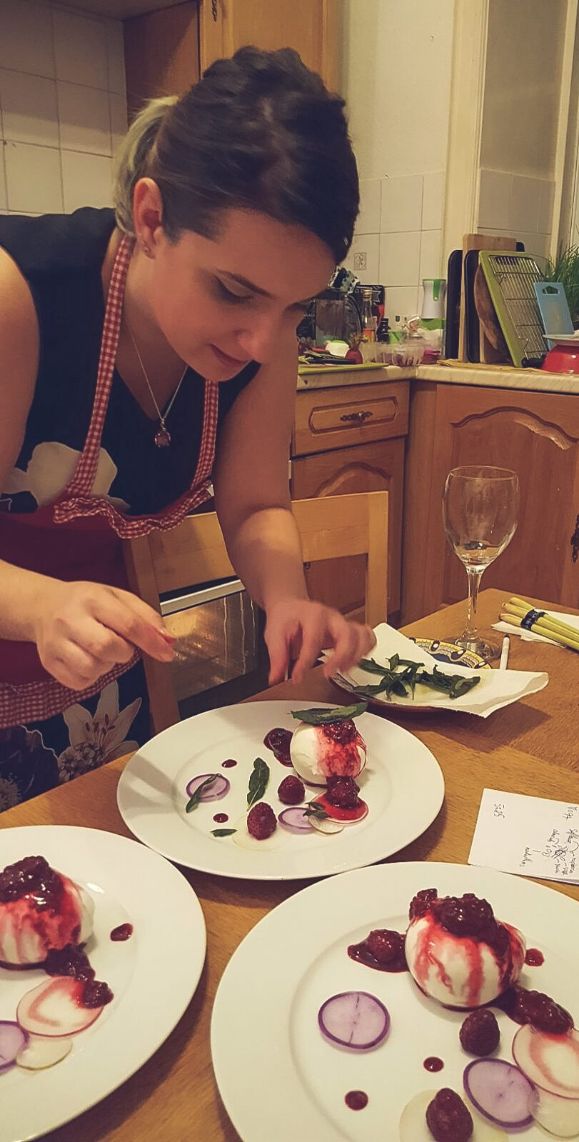 Mozzarella di Buffala with Raspberry Sauce, Crispy Sage, Almonds and Radishes (and a sneak peek into my kitchen)
