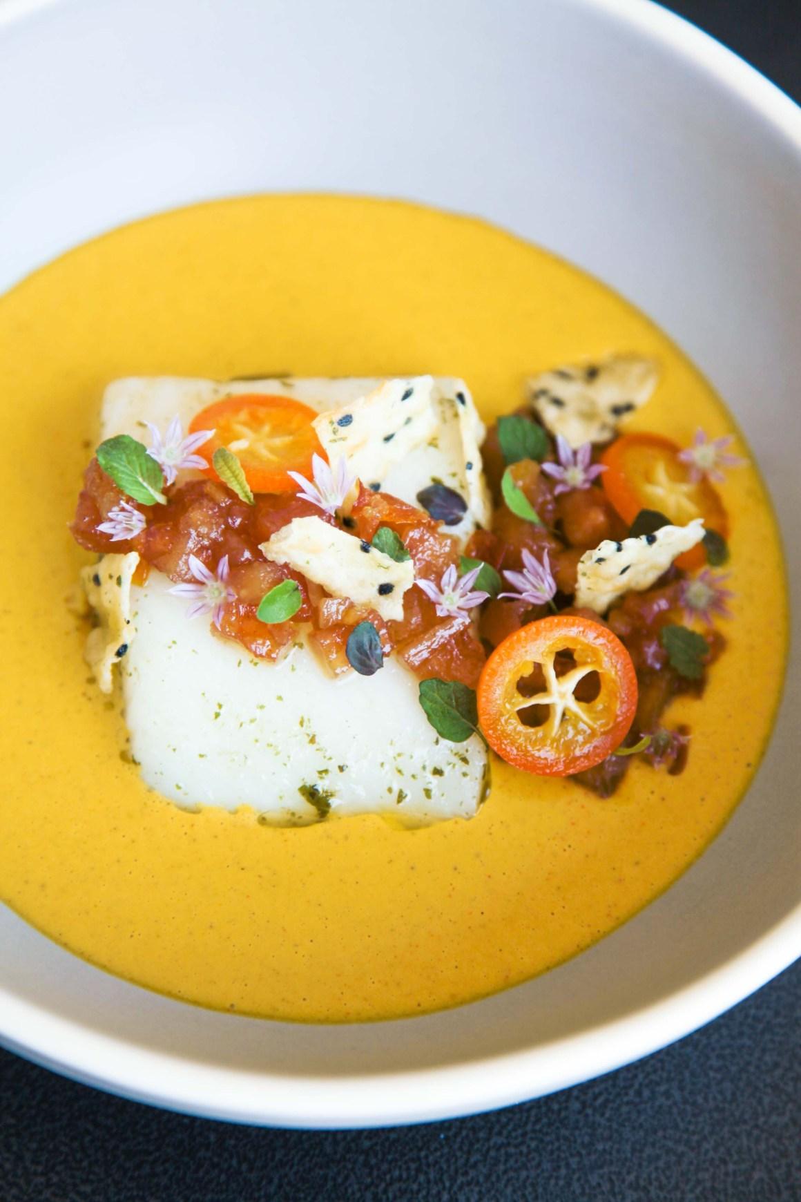 Exquisite halibut, lemon verbena, golden curry, quince and kumquat   Berries and Spice