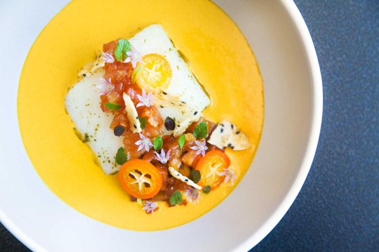 Exquisite halibut, lemon verbena, golden curry, quince and kumquat