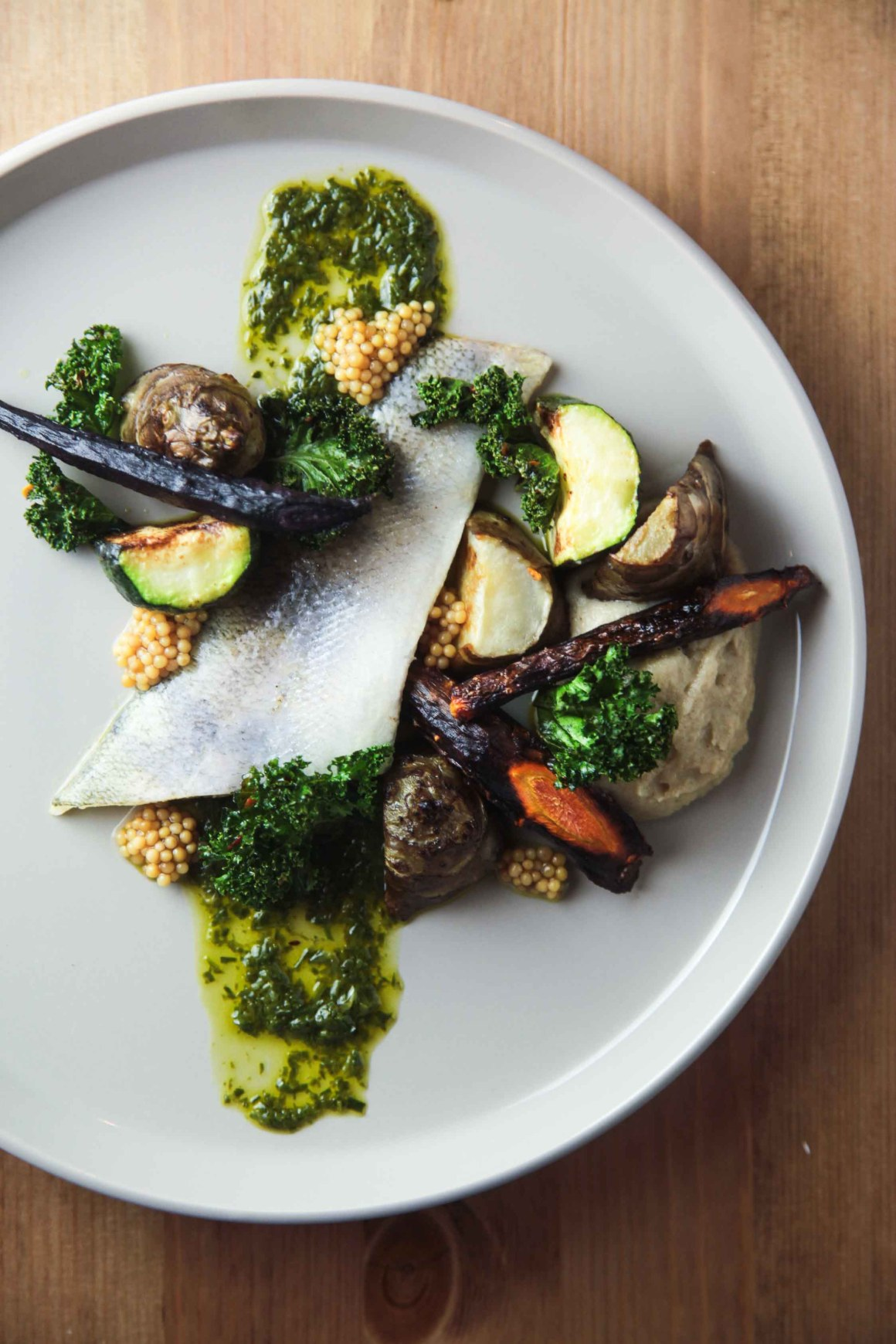 Pike Perch with winter vegetables, wild garlic, crispy kale and mustard   Berries and Spice