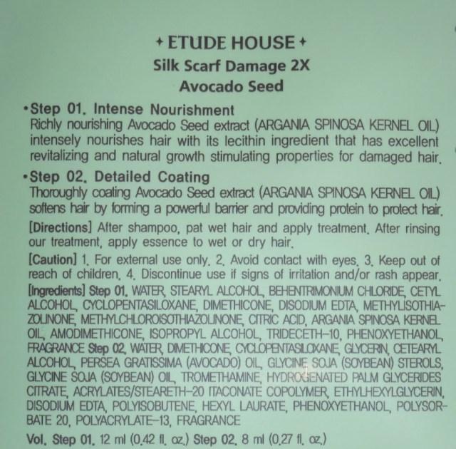 Etude House Silk Scarf Damage 2x Hair Pack and Hair Serum