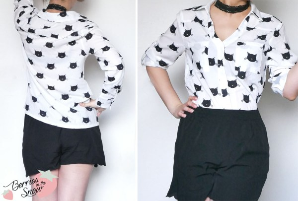 Lapel Blouse with Cat Print from SheIn