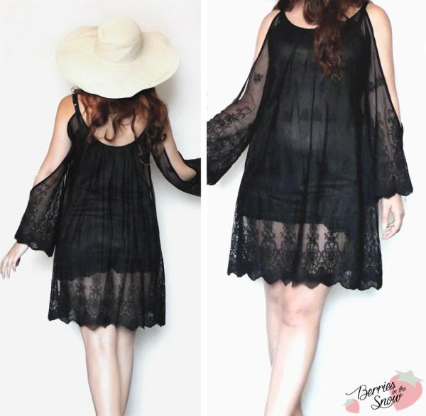 Black Split Long Sleeve Crochet Shift Dress from SheIn