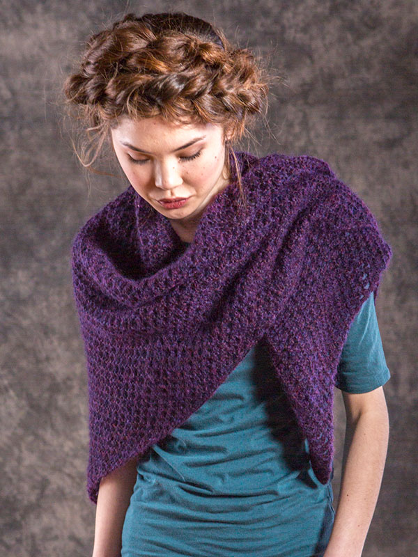 Broderick shawl knitting pattern in Berroco Briza