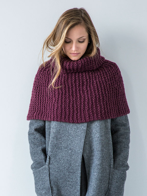 Gambit capelet knitting pattern in Berroco Noble