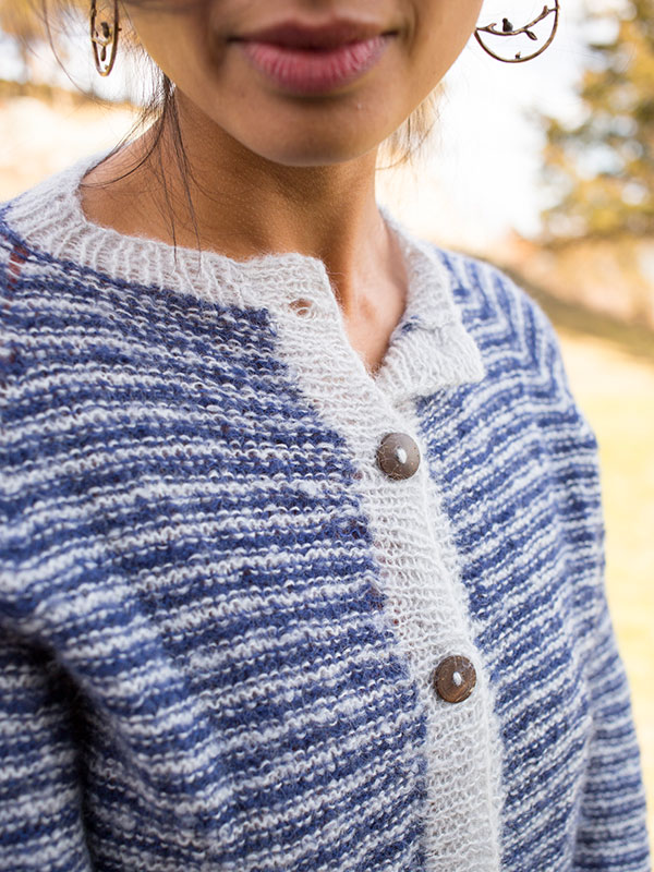 Detail of Braith, a cardigan knitting pattern in Berroco Andean Mist