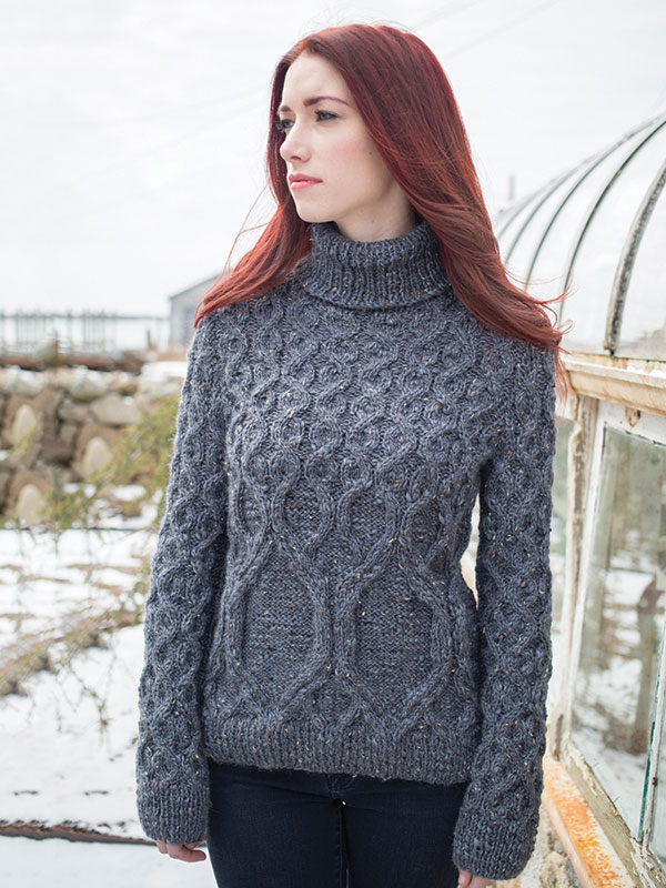 Standing pullover knitting pattern in Berroco Inca Tweed