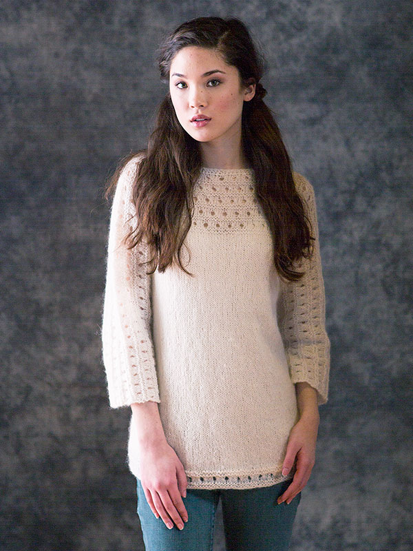 Pacific sweater knitting pattern in Berroco Briza