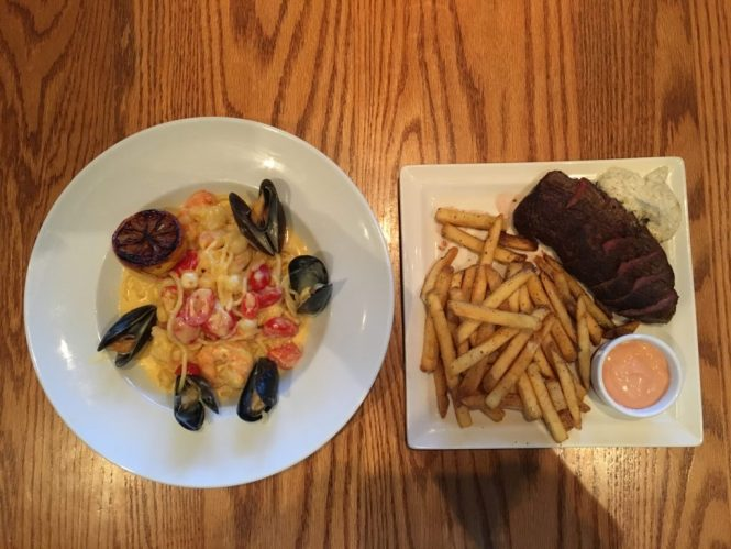 Seafood Bucatini and Steak Frites at Carmel Kitchen