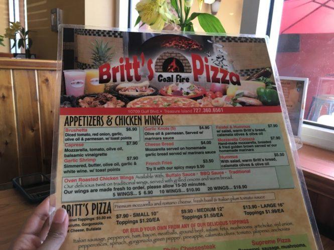 Britt's Pizza Treasure Island menu