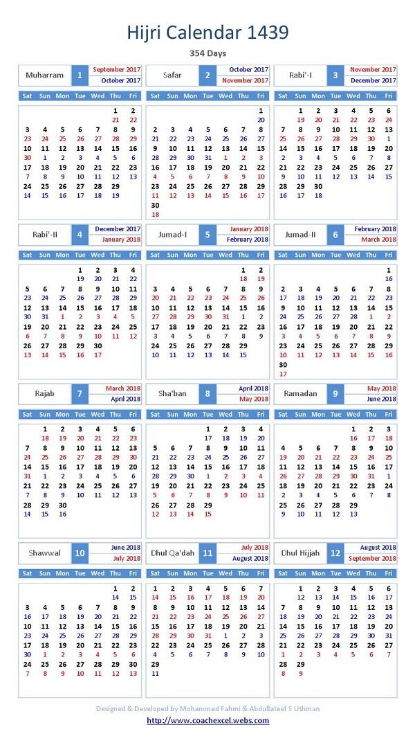 kalender hijriah 1439