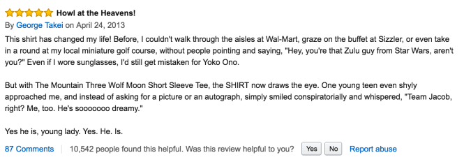 George Takei Amazon Review of Wolf Shirt