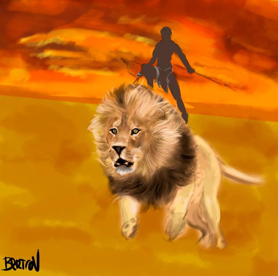 Guerrero en su león