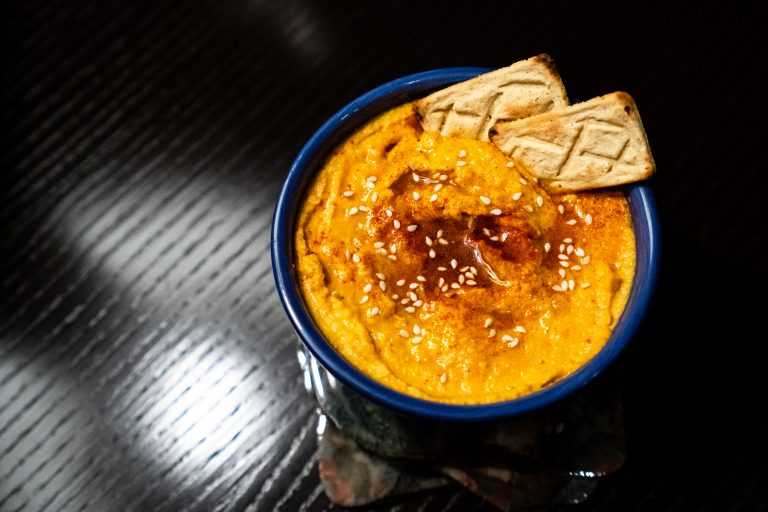 Homemade spicy hummus with Salmas crackers