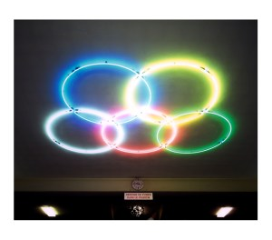Various sports. Olympic rings. Sports divers. Anneaux Olympiques. Bertrand Desprez / Agence VU