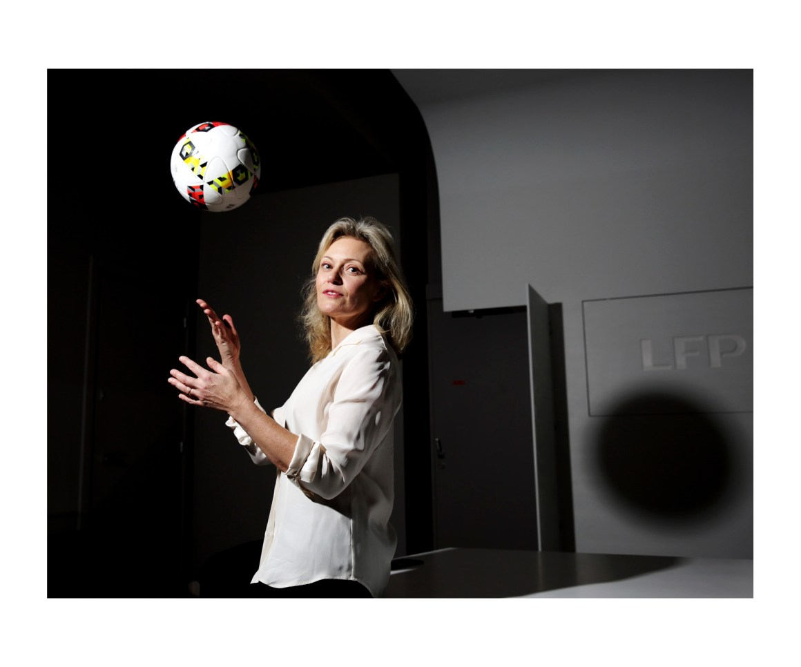 Nathalie Boy de la Tour née Szenberg le 19 août 1968 à Saint-Cyr-l'École2 est une dirigeante française de football élue présidente de la Ligue de football professionnel (LFP) le 11 novembre 2016. © bertrand desprez pour L'Express